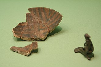 Khojaly–Gadabay culture - Image: Bowl and bird shaped pendant from Khojaly in Hermitage