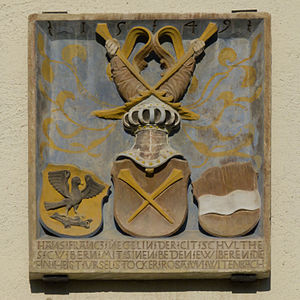 Bremgarten bei Bern - Coats of Arms of Schultheissen Hans-Franz Nägeli (1497-1579) and his two wives Ursel Stocker and Rosa von Witenbach on Bremgarten Castle