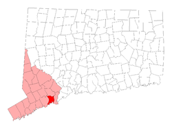Location in Fairfield County, کنیکٹیکٹ