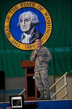 John S. Tuohy - Brigadier General John S. Tuohy addressing the 141st Air Refueling Wing (141 ARW) at Fairchild Air Force Base, Spokane, Washington, 12 January 2015.