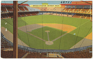 Tiger Stadium (Detroit) - Postcard showing Briggs Stadium, circa 1930–1945