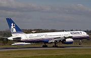Britannia Airways Boeing 757-200 lands at Bristol International Airport, England