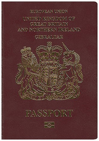 British passport (Gibraltar) - The front cover of a contemporary Gibraltar biometric passport.