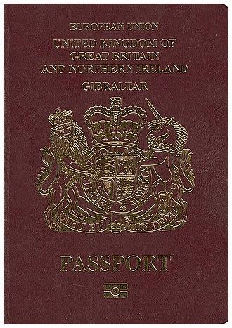 British passport (Gibraltar) - The front cover of a contemporary Gibraltar biometric passport.