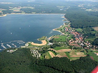 Franconia - The lake of Großer Brombachsee. View over Ramsberg looking east towards the dam