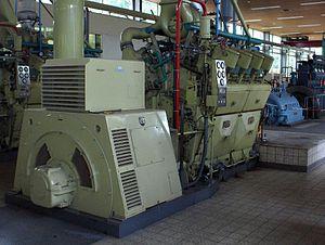 Stationaire Brons 8 cil. VG motor met generator.