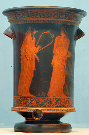 Greek lyric - Alcaeus and Sappho (Brygos Painter, Attic red-figure kalathos, ca. 470 BC)