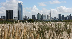 Economy of Argentina - View of Buenos Aires Central Business District from the Costanera Sur Ecological Reserve.
