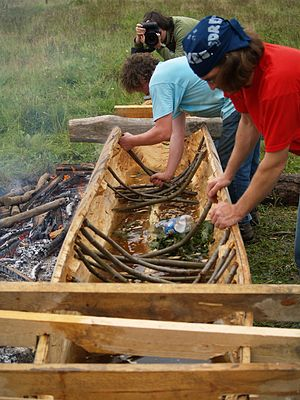 English: Building a Dugout Canoe at Basecamp K...