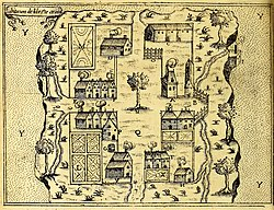 Buildings on Saint Croix Island - circa 1613 - Project Gutenberg etext 20110.jpg