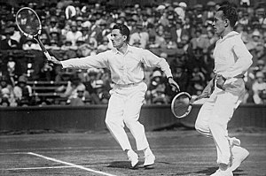 1930 in tennis - Henri Cochet (right), ranked number one amateur on all lists, with Jacques Brugnon, with whom he won the 1930 Wimbledon doubles (pictured)