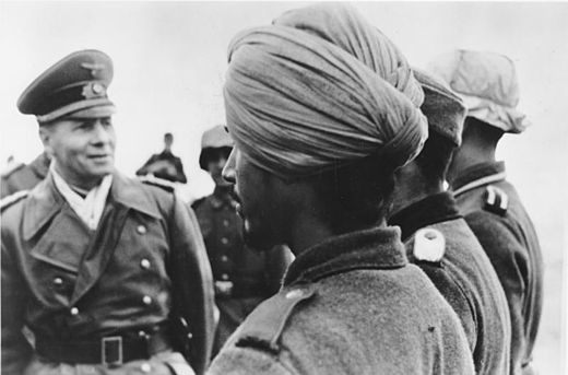 "The Indische Legion attached to the German Army was created in 1941, mainly from disaffected Indian soldiers of the British Indian Army. Bundesarchiv Bild 183-J16796, Rommel mit Soldaten der Legion ""Freies Indien"".jpg"