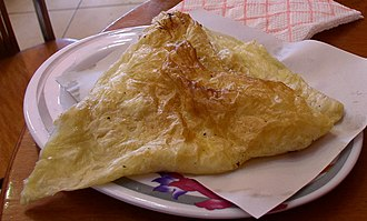Börek - Triangular byrek in Albania