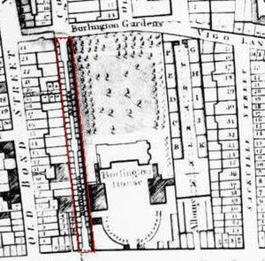 Burlington Gardens - 1819 map showing Burlington Gardens at the top.