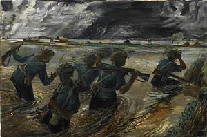 Battle of the Sittang Bend - Royal West Kents making an armed patrol deep in flooded paddy fields during the battle by Leslie Cole