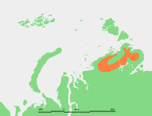 Byrranga Mountains - Approximate extent of the Byrranga Mountains in the Taymyr Peninsula.