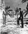 CAPT Christian L Engleman and Edward H Shuler standing beside Japanese monument, Bikini Island, summer 1947 (DONALDSON 33).jpeg