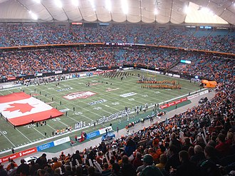 End zone - A Canadian football field, with 20-yard deep end zone and goal post on the goal line