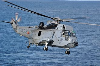 Amphibious helicopter - A Canadian Forces CH-124 Sea King shows its boat hull, sponsons and wheeled landing gear.