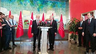2018 Turkish presidential election - SP leader Temel Karamollaoğlu and CHP leader Kemal Kılıçdaroğlu meet to discuss a joint candidate on 23 April 2018