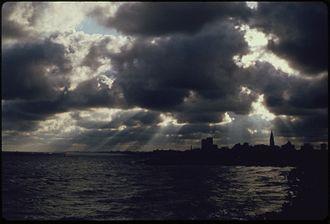 Lake Erie - Daybreak with Cleveland skyline