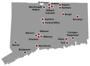 Connecticut Department of Correction - Image: CT DOC Facilities Map