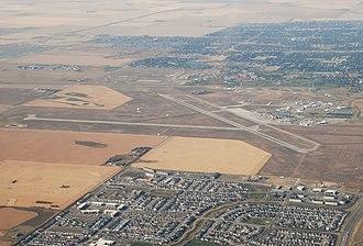 Regina International Airport - Image: CYQR aerial view – Regina, SK – (2018 09 07)