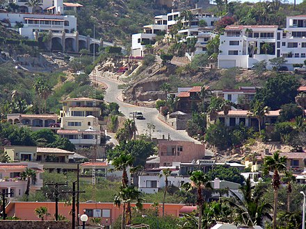Suburb in Cabo San Lucas with terrain illustrating the mixture of the State's common environments: semi-arid desert, mountains and coastal plains. Cabo San Lucas street 1.jpg