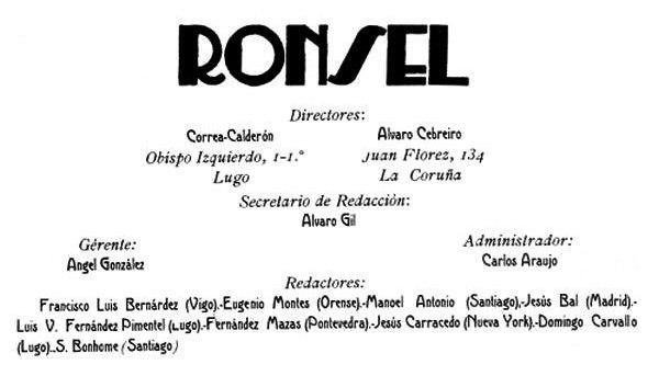 Cadro de persoal da revista Ronsel. 1924