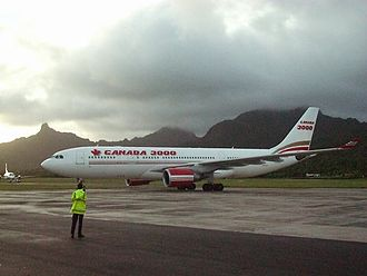 Canada 3000 - A Canada 3000 Airbus A330 at Rarotonga International Airport, Cook Islands (2001)