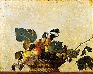 Imagen del Cuadro de Caravaggio, Cesto de frutas, utilizado para la entrada la evolución del bodegón realizada para la academia de dibujo y pintura Artistas6 de Madrid.
