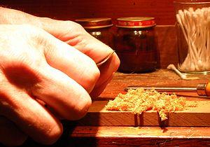 Card scraper - Card scraper in use