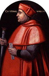 A portrait of Cardinal Thomas Wolsey, wearing the red cloak and hat associated with cardinals.