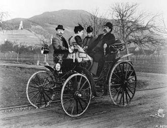Benz Viktoria - Karl and Bertha Benz, their daughter Clara and Fritz Held on a Benz Viktoria during a trip near Schriesheim in 1894