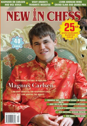 New In Chess - Cover of 25th anniversary issue (2009, issue 7)  depicting Magnus Carlsen on the cover