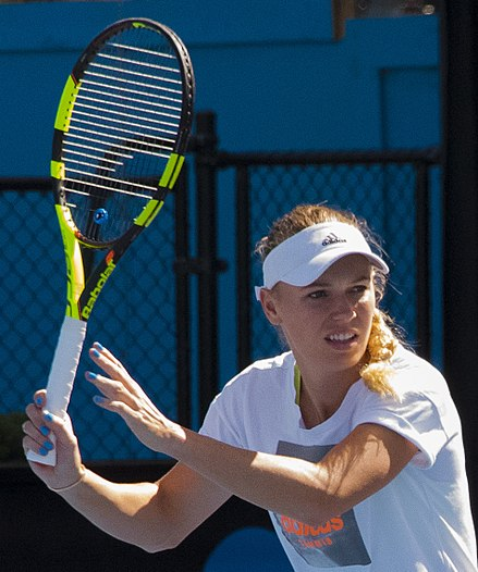 Wozniacki practicing at the 2018 Australian Open Caroline Wozniacki (Den) (24852316737) (2) (cropped2).jpg