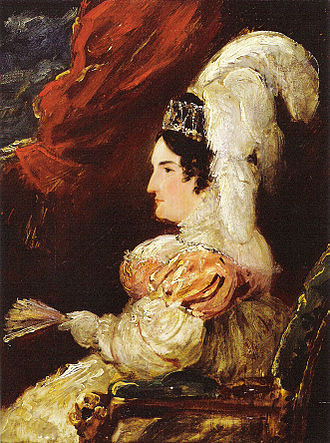 Pains and Penalties Bill 1820 - Queen Caroline sitting in a chair in profile at her trial in the House of Lords. She is wearing an elaborate head dress with large feathers, a style with which she became associated.