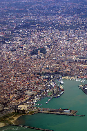 Catania - An aerial view of the port of Catania