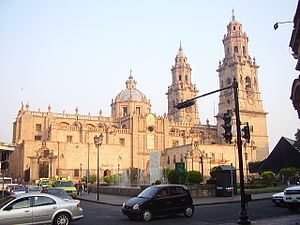 Morelia Cathedral - The pink stone of the Cathedral of Morelia