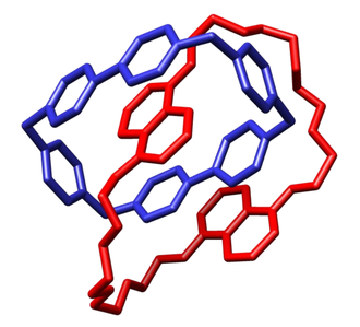 Catenane - Crystal structure of a catenane with a cyclobis(paraquat-p-phenylene) macrocycle reported by Stoddart and coworkers.