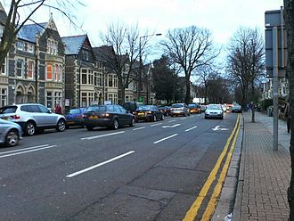 A4119 road - Cathedral Road in Cardiff