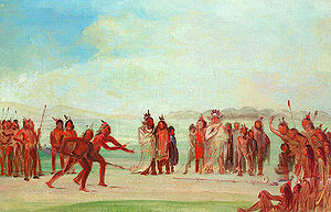 """Chunkey - """"Tchung-kee, a Mandan Game Played with a Ring and Pole"""" by artist George Catlin"""