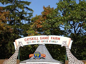Catskill Game Farm - Entrance sign in 2006