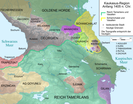 Map of Caucasus Region 1405. Caucasus 1405 map de.png