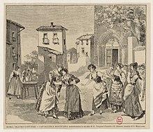 Cavelleria Rusticana, sceno de la premiero, (1890) Teatro Costanzi, Rome.jpg