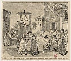Darstellung einer Szenebei der Uraufführung 1890