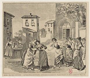 Cavelleria Rusticana, scène de la première de 1890, Teatro Costanzi, Rome.jpg