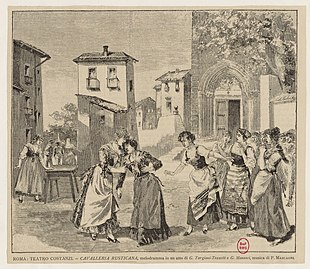 Cavelleria Rusticana, escena del estreno de 1890, Teatro Costanzi, Roma.jpg