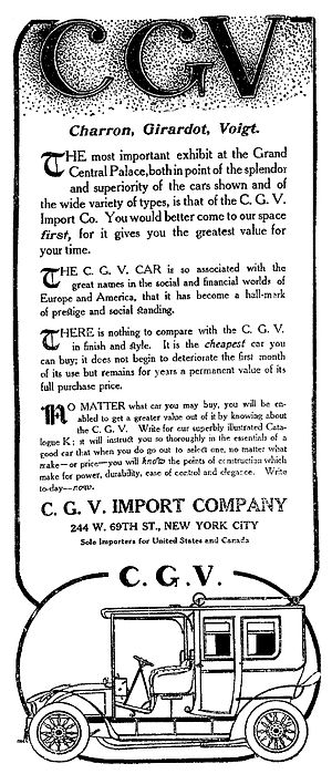 Charron, Girardot et Voigt 1902 - Charron, Girardot et Voigt - C.G.V. Import Company, New York - The New York Times, December 4, 1906