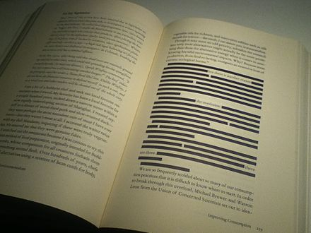 Author Ozzie Zehner self-censored the American edition of his environmental book, Green Illusions, due to food libel laws that enable the food industry to sue researchers who criticize their products. Censored section of Green Illusions by Ozzie Zehner.jpg